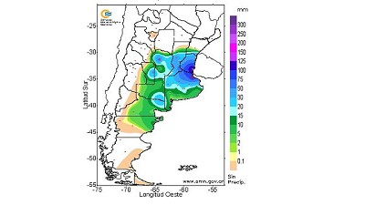Registro de lluvias caídas en la mañana del 14 de diciembre