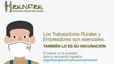 El RENATRE convoca a los gobiernos provinciales a hacer foco en la vacunación de los trabajadores rurales y productores